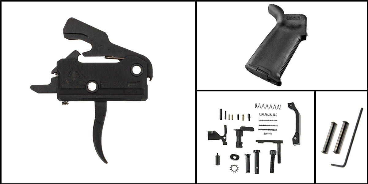 Custom Deal AR-15 Trigger Upgrade Kit Including Rise Armament Flat Trigger + CMMG Lower Parts Kit + Magpul MOE+ Grip