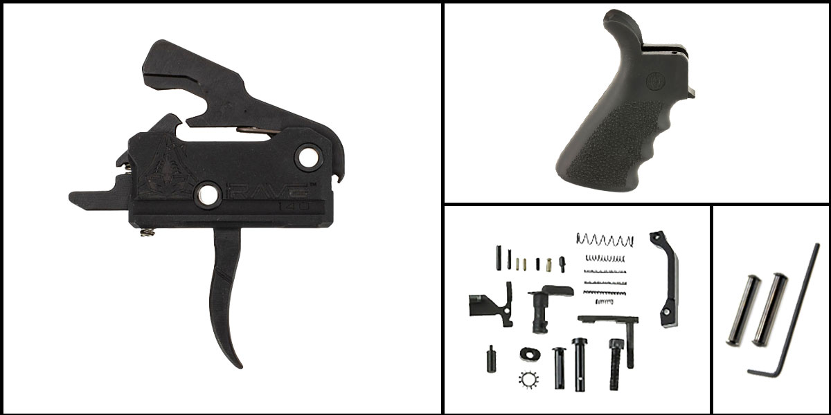 Custom Deal AR-15 Trigger Upgrade Kit Including Rise Armament Flat Trigger + CMMG Lower Parts Kit + Hogue Beavertail Grip