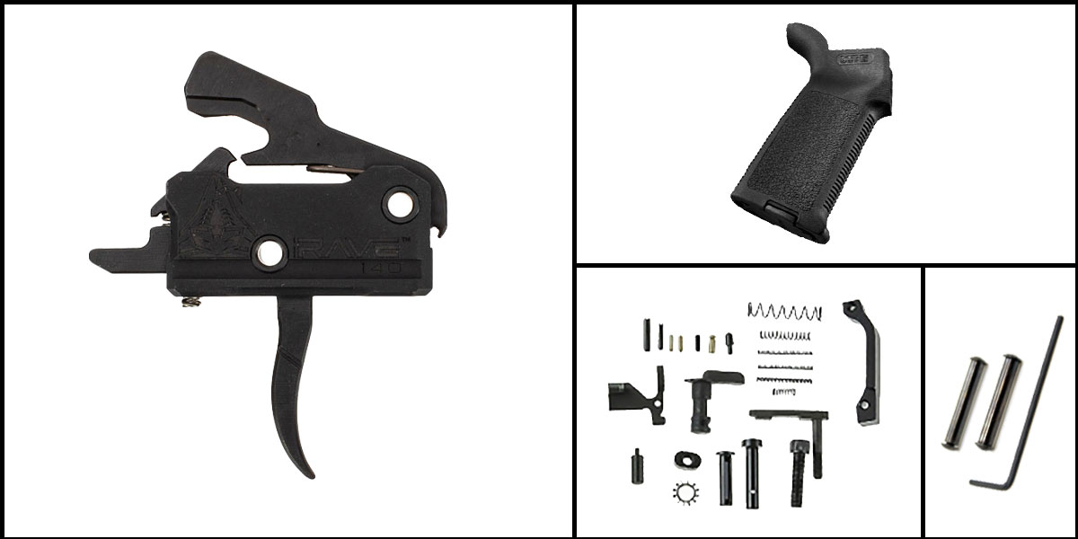 Custom Deal AR-15 Trigger Upgrade Kit Including Rise Armament Flat Trigger + CMMG Lower Parts Kit + Magpul MOE Grip