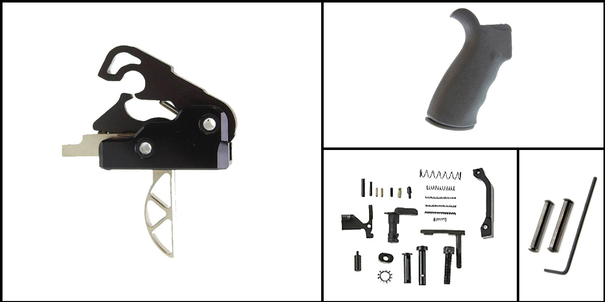 Custom Deal AR-15 Trigger Upgrade Kit Including Davidson Defense Skeletonized Trigger + CMMG Lower Parts Kit + Omega Mfg. Beavertail Grip + Davidson Defense Anti Walk Pins