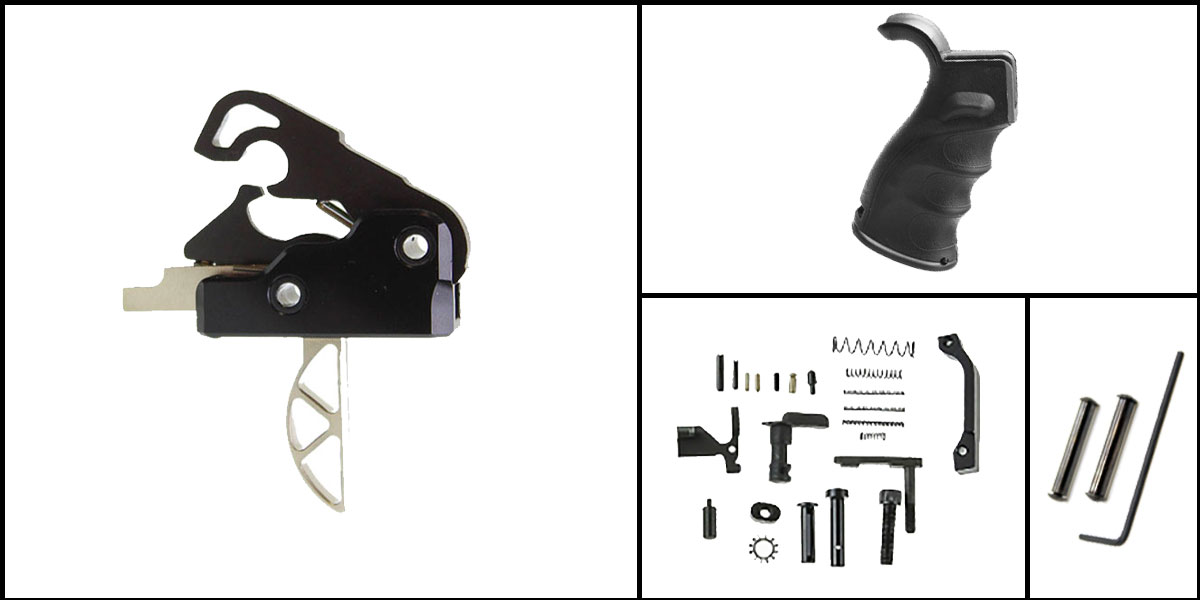 Custom Deal AR-15 Trigger Upgrade Kit Including Davidson Defense Skeletonized Trigger + CMMG Lower Parts Kit + M4 Polymer Pistol Grip + Davidson Defense Anti Walk Pins