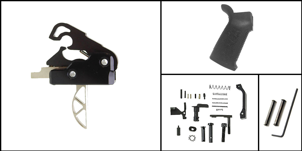 Custom Deal AR-15 Trigger Upgrade Kit Including Davidson Defense Skeletonized Trigger + CMMG Lower Parts Kit + Spikes Tactical Pro Grip + Davidson Defense Anti Walk Pins