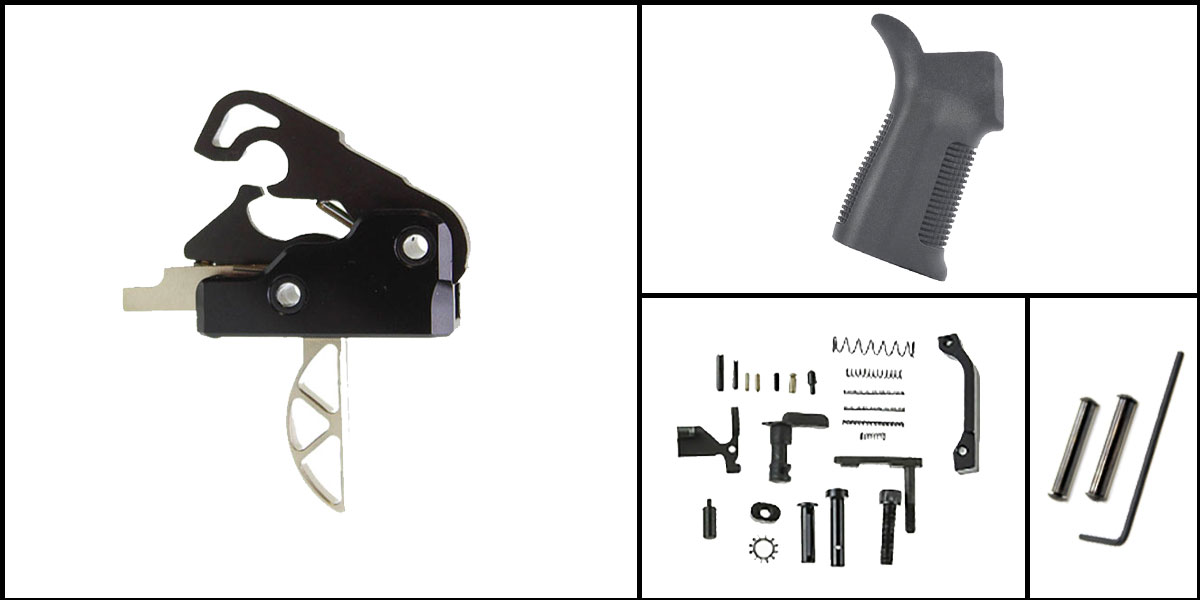 Custom Deal AR-15 Trigger Upgrade Kit Including Davidson Defense Skeletonized Trigger + CMMG Lower Parts Kit + Trinity Force 17 Degree Grip + Davidson Defense Anti Walk Pins