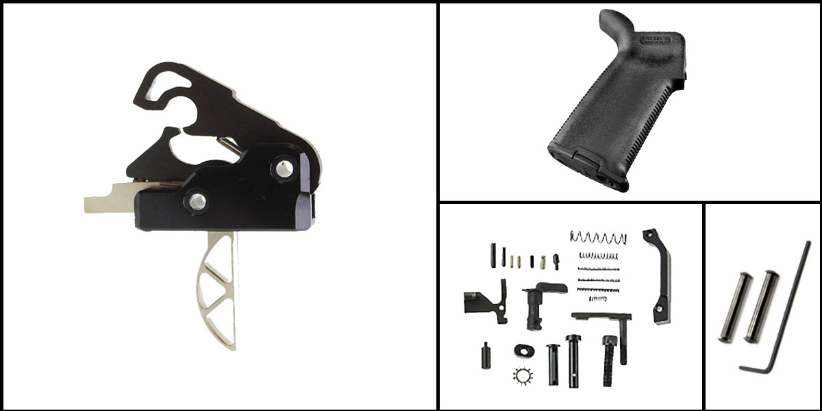 Custom Deal AR-15 Trigger Upgrade Kit Including Davidson Skeletonized Boron Trigger + CMMG Lower Parts Kit + Magpul MOE+ Grip + Davidson Defense Anti Walk Pins