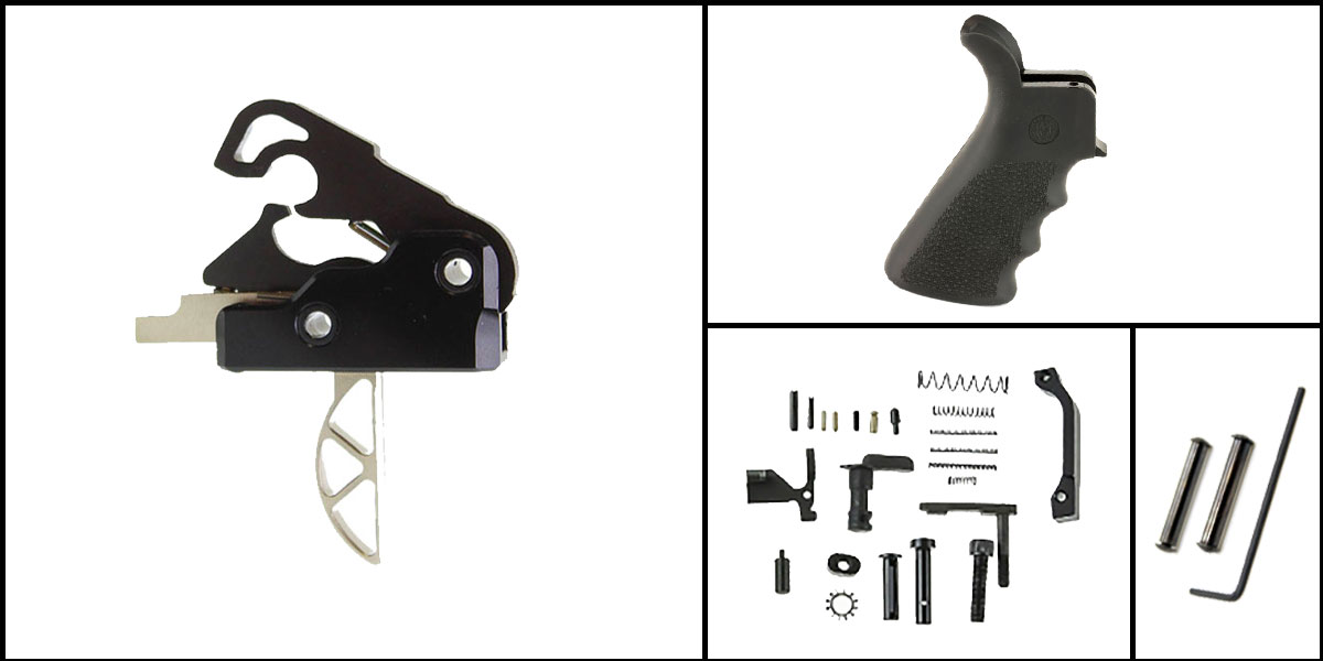 Custom Deal AR-15 Trigger Upgrade Kit Including Davidson Defense Skeletonized Trigger + CMMG Lower Parts Kit + Hogue Beavertail Grip + Davidson Defense Anti Walk Pins