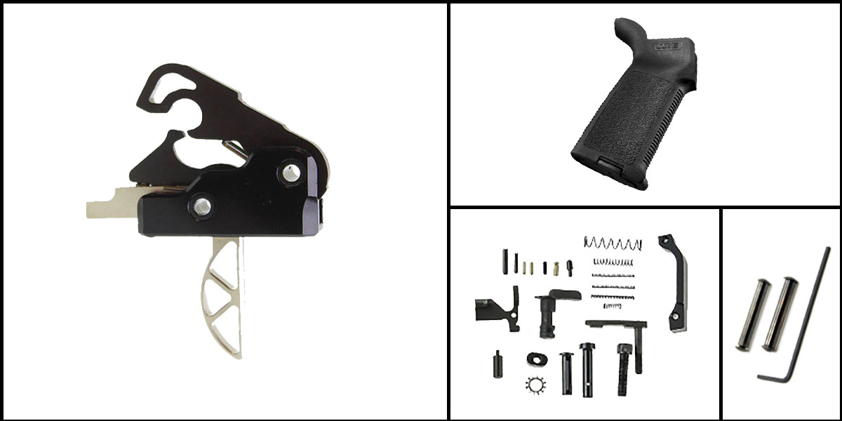 Custom Deal AR-15 Trigger Upgrade Kit Including Davidson Defense Skeletonized Trigger + CMMG Lower Parts Kit + Magpul MOE Grip + Davidson Defense Anti Walk Pins