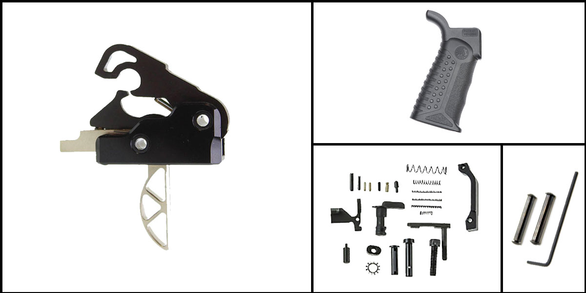 Custom Deal AR-15 Trigger Upgrade Kit Including Davidson Defense Skeletonized Trigger + CMMG Lower Parts Kit + Battle Arms Development Tactical Grip + Davidson Defense Anti Walk Pins