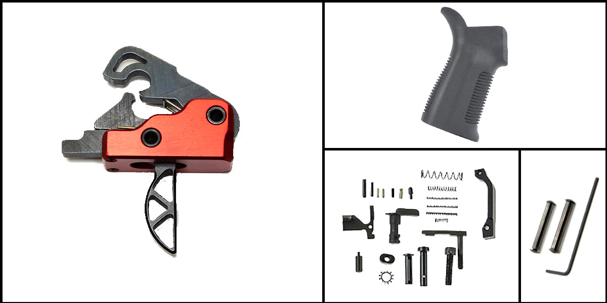 Custom Deal AR-15 Trigger Upgrade Kit Including Davidson Defense Skeletonized Red Trigger + CMMG Lower Parts Kit + Trinity Force 17 Degree Grip + Davidson Defense Anti Walk Pins