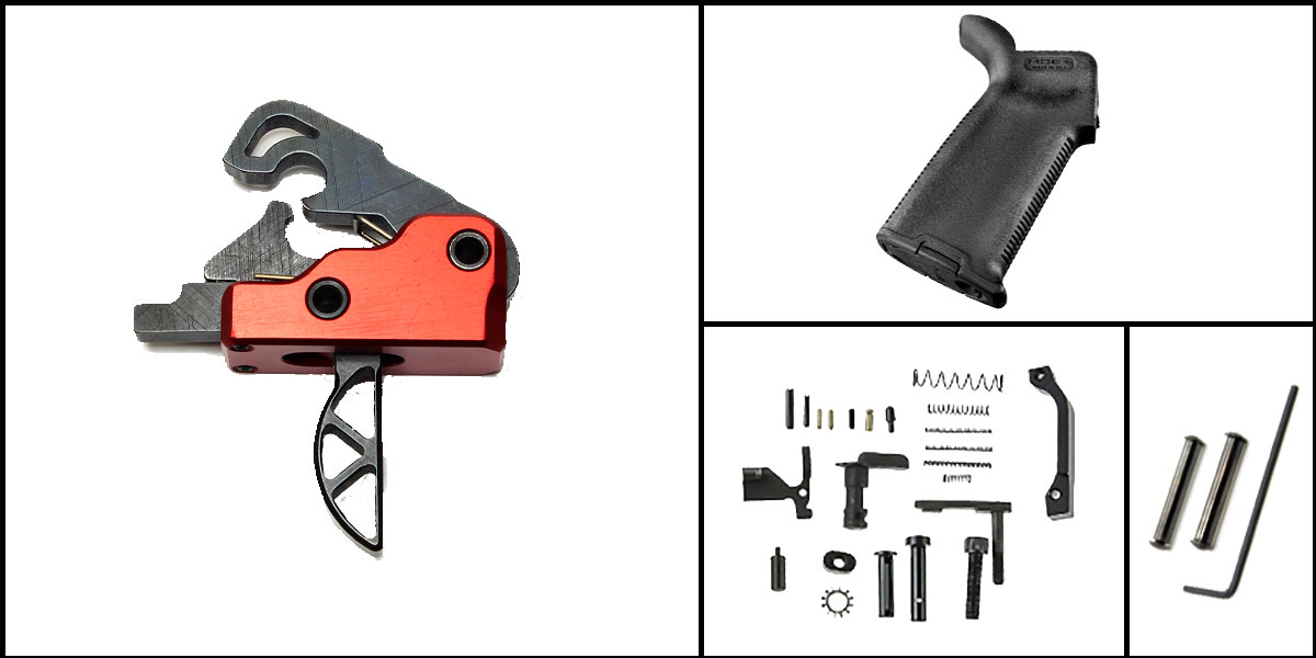 Custom Deal AR-15 Trigger Upgrade Kit Including Davidson Skeletonized Red Trigger + CMMG Lower Parts Kit + Magpul MOE+ Grip + Davidson Defense Anti Walk Pins