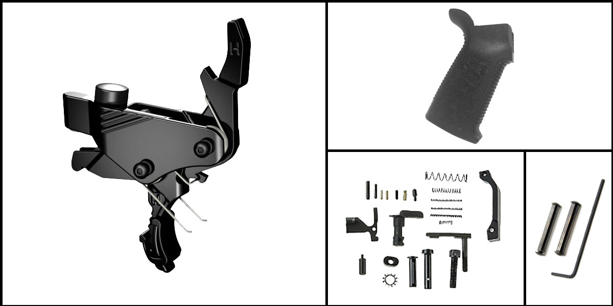 Custom Deal AR-15 Trigger Upgrade Kit Including Hiperfire Power Trigger + CMMG Lower Parts Kit + Spikes Tactical Pro Grip + Davidson Defense Anti Walk Pins