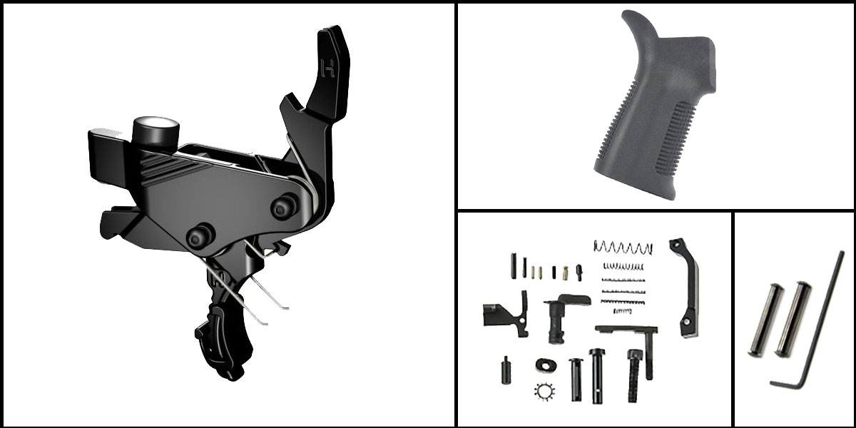 Custom Deal AR-15 Trigger Upgrade Kit Including Hiperfire Power Trigger + CMMG Lower Parts Kit + Trinity Force 17 Degree Grip + Davidson Defense Anti Walk Pins