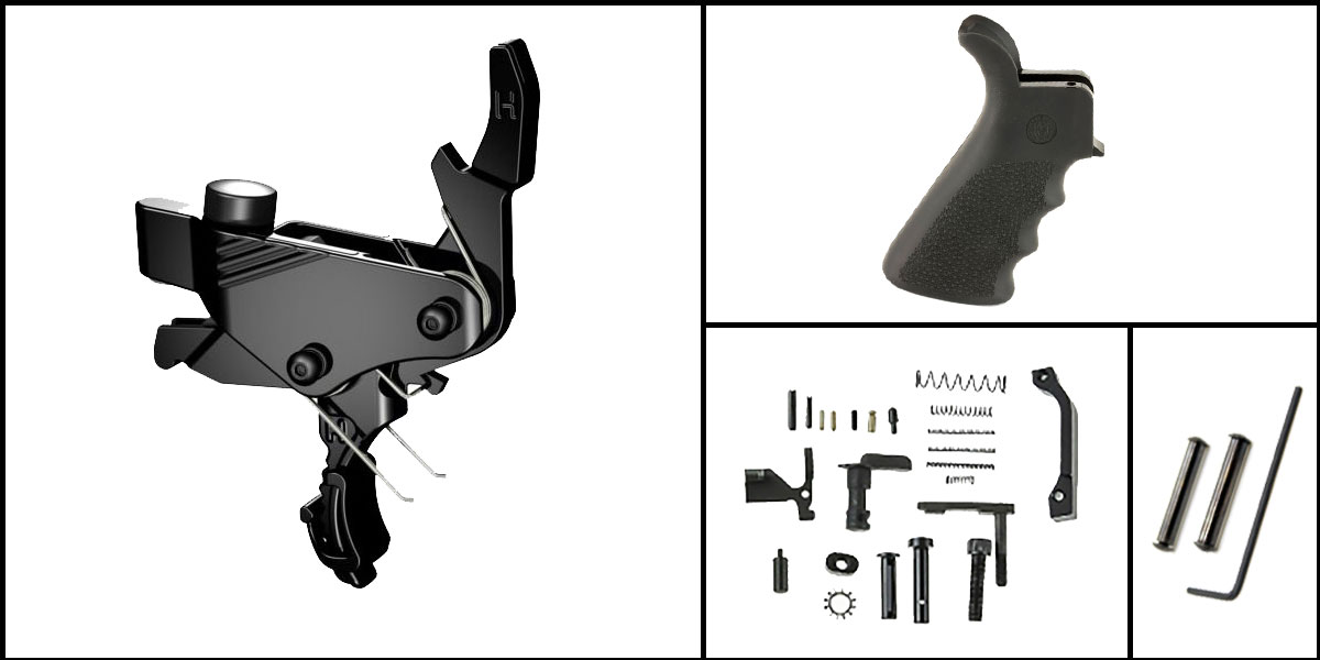 Custom Deal AR-15 Trigger Upgrade Kit Including Hiperfire Power Trigger + CMMG Lower Parts Kit + Hogue Beavertail Grip + Davidson Defense Anti Walk Pins