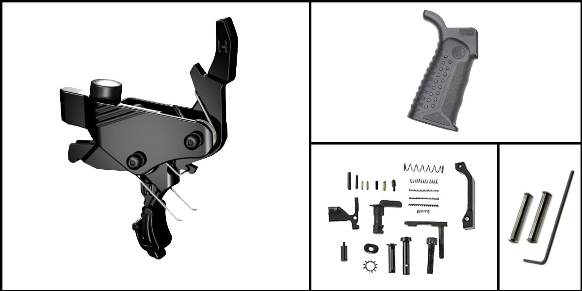Custom Deal AR-15 Trigger Upgrade Kit Including Hiperfire Power Trigger + CMMG Lower Parts Kit + Battle Arms Development Tactical Grip + Davidson Defense Anti Walk Pins