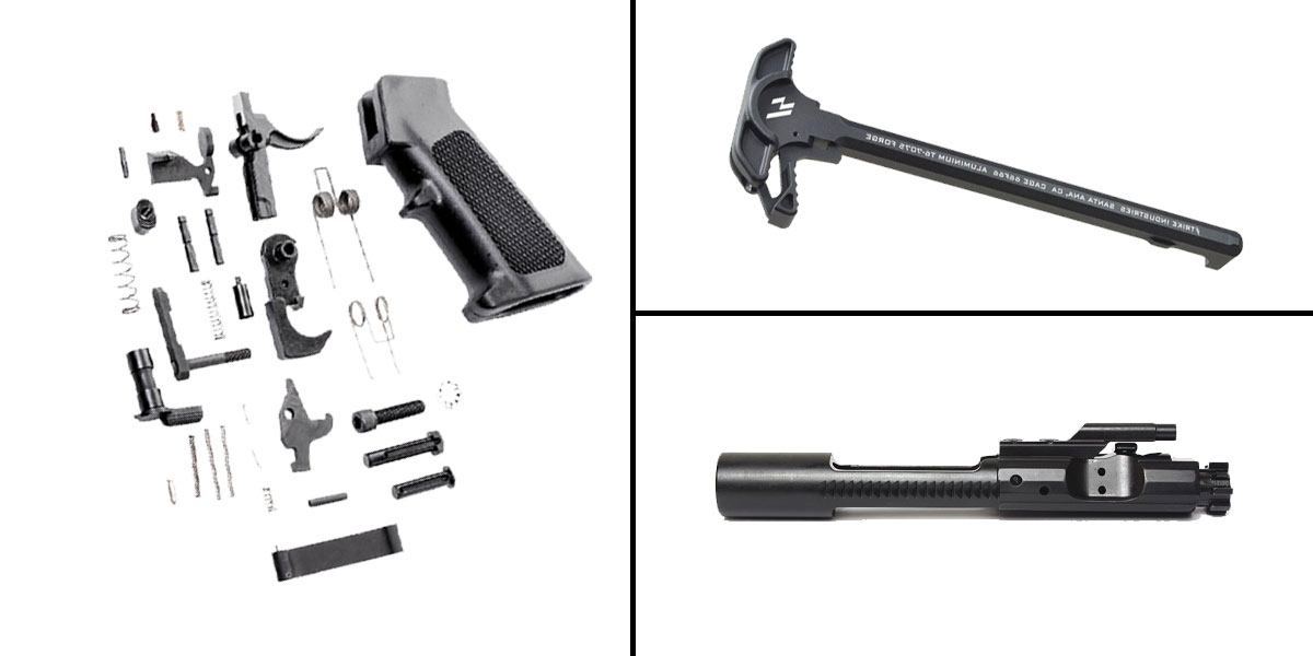 Custom Deal CMMG Lower Parts Kit + AR-15 5.56/.223/.300/.350 BCG + Strike Industries Charging Handle