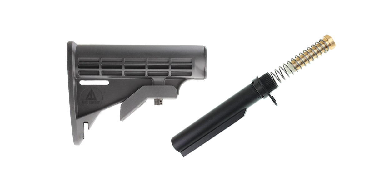 Custom Deal MMC Armory 6-Position Adjustable Polymer LE Butt Stock - Minus Sling Loop + Omega Mfg. Mil-Spec Buffer Tube Kit