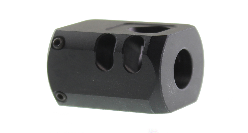 Recoil Technologies Glock 1/2X28 9MM Aluminum MB Triangle Top Port Muzzle Brake - Black
