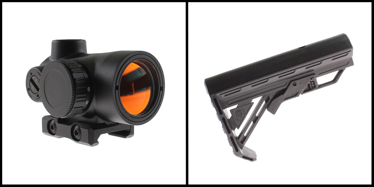 Custom Deal 25MM Objective Lens Micro Red Dot Sight w/ Low Profile 1913 Rail Mount + Davidson Defense 'Genesis' Stock, Black Nylon