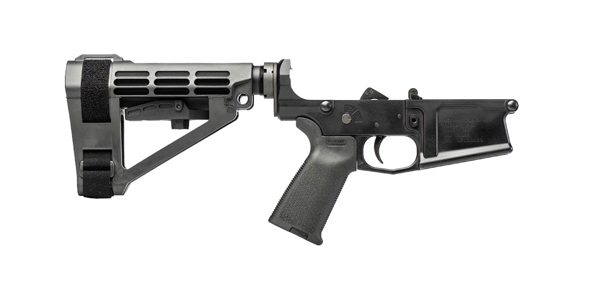 Aero Precision M5 LR-308 Pistol Complete Lower Receiver w/ MOE Grip & SBA4 Brace - Anodized Black