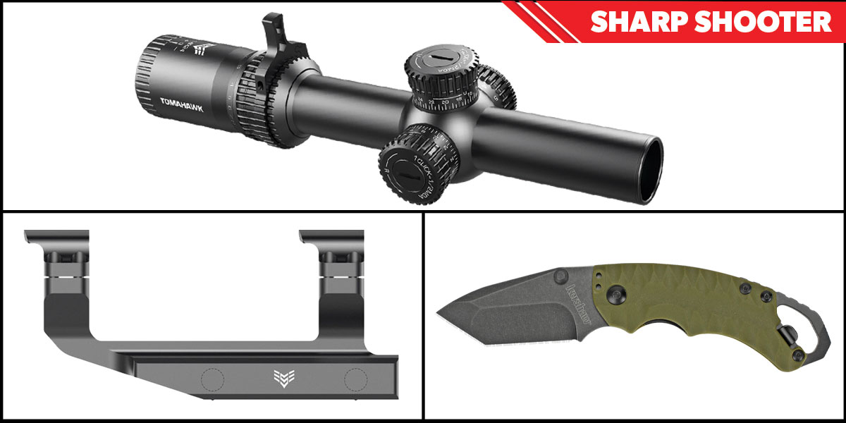 Custom Deal Sharp Shooter Combos: Swampfox Optics Tomahawk LPVO Scope MOA Reticle 1-4x24 + Kershaw Shuffle II Folding Knife + Swampfox Optics Independence Mount 30mm