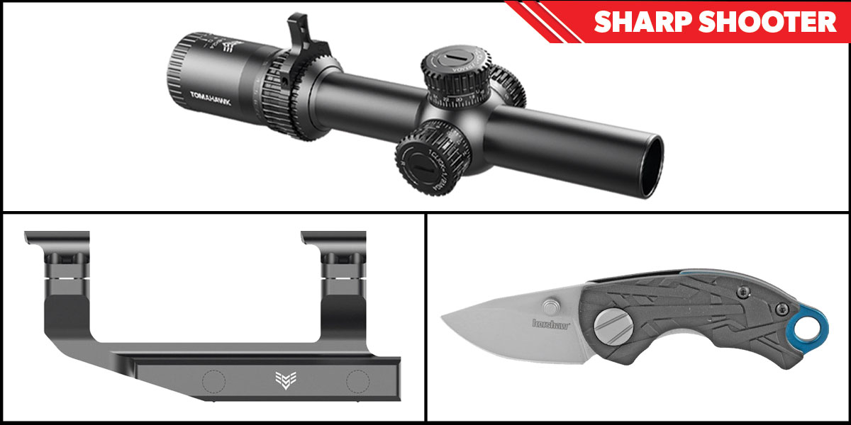 Custom Deal Sharp Shooter Combos: Swampfox Optics Tomahawk LPVO Scope BDC Reticle 1-4x24 + Kershaw Aftereffect Folding Knife + Swampfox Optics Independence Mount 30mm