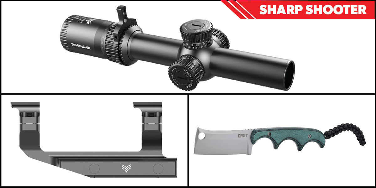Custom Deal Sharp Shooter Combos: Swampfox Optics Tomahawk LPVO Scope BDC Reticle 1-4x24 + CRKT Minimalist Cleaver + Swampfox Optics Independence Mount 30mm