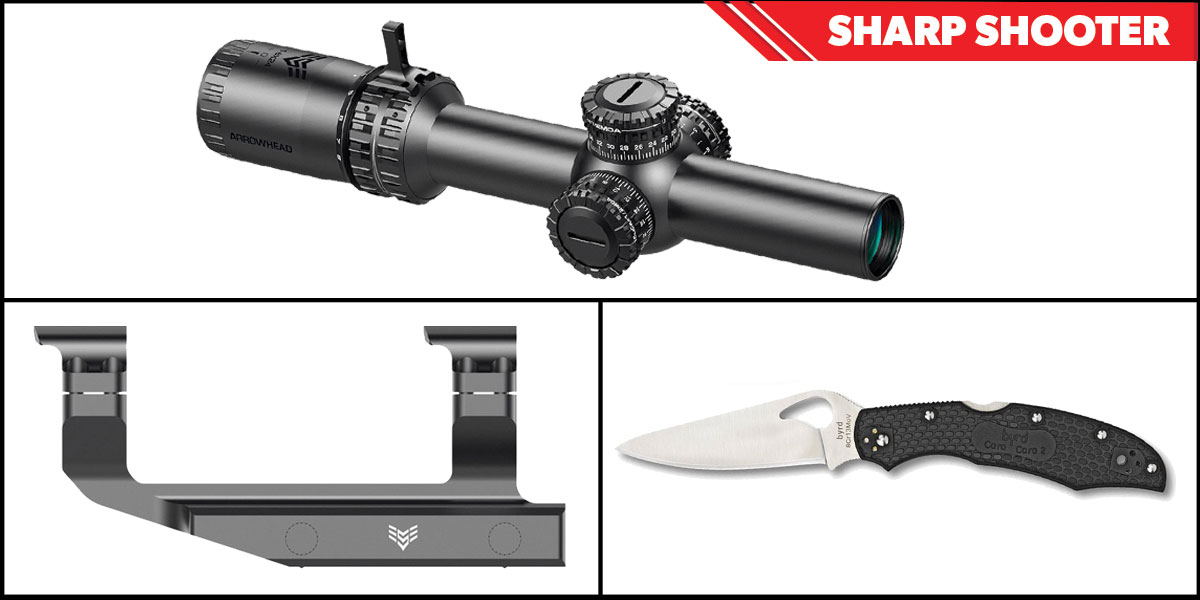 Custom Deal Sharp Shooter Combos: Swampfox Optics Arrowhead 30mm Tube Scope 1-6x24 + Spyderco Byrd Folding Knife + Swampfox Optics Independence Mount 30mm