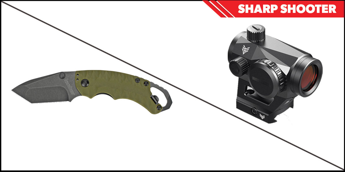 Custom Deal Sharp Shooter Combos: Swampfox Optics Liberator Green Dot 1x22 + Kershaw Shuffle II Folding Knife