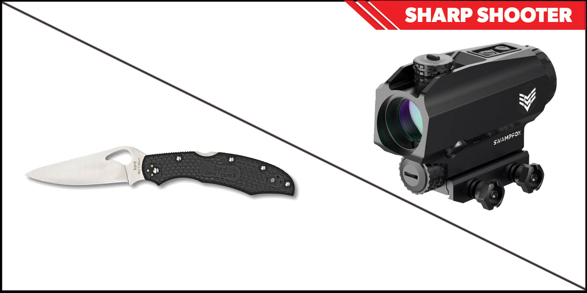 Custom Deal Sharp Shooter Combos: Swampfox Optics Blade Prism Sight Red Dot 1x25 + Spyderco Byrd Folding Knife