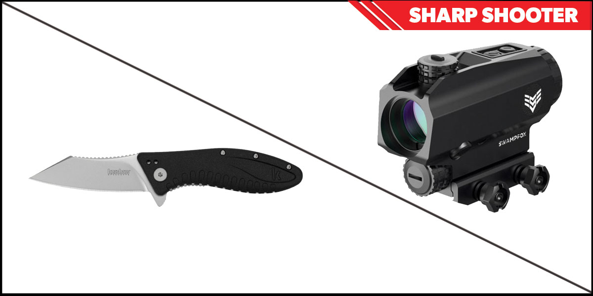 Custom Deal Sharp Shooter Combos: Swampfox Optics Blade Prism Sight Red Dot 1x25 + Kershaw Grinder Folding Knife
