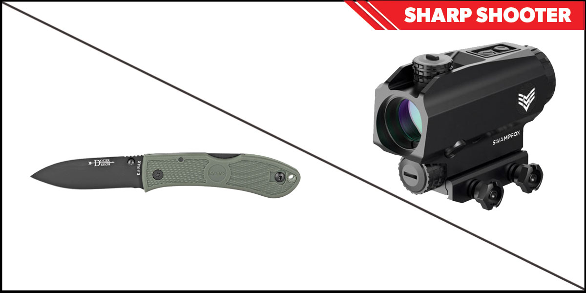 Custom Deal Sharp Shooter Combos: Swampfox Optics Blade Prism Sight Red Dot 1x25 + KABAR Hunter Folding Knife 3