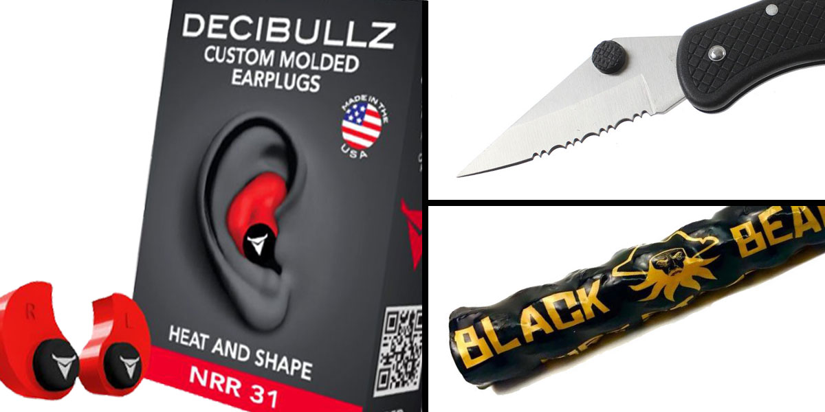 Tactical Gift Box Black Beard Fire Starter + GS Knife Co. Pocket Knife - Black + Decibullz Custom Molded Earplugs - Red