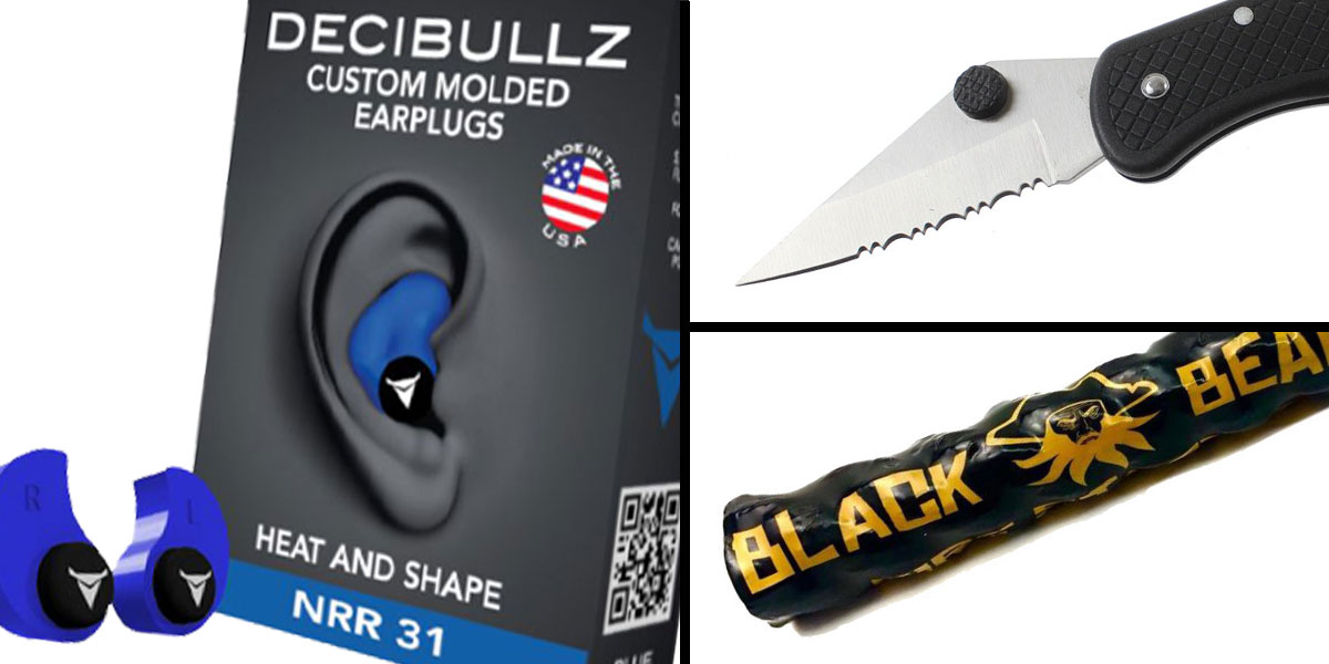 Tactical Gift Box Black Beard Fire Starter + GS Knife Co. Pocket Knife - Black + Decibullz Custom Molded Earplugs - Blue