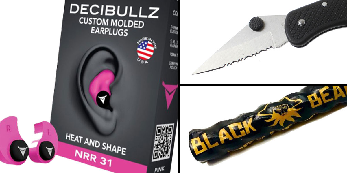 Tactical Gift Box Black Beard Fire Starter + GS Knife Co. Pocket Knife - Black + Decibullz Custom Molded Earplugs - Pink