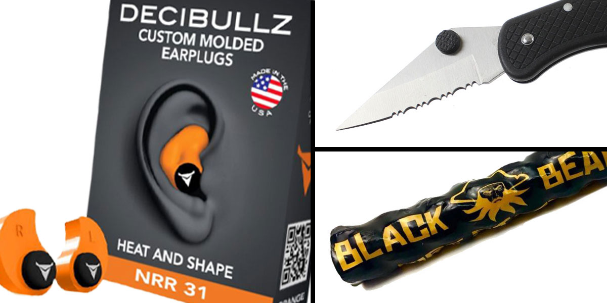 Tactical Gift Box Black Beard Fire Starter + GS Knife Co. Pocket Knife W/ Serrated Drop Point Blade W/ Pocket Clip - Black + Decibullz Custom Molded Earplugs - Orange