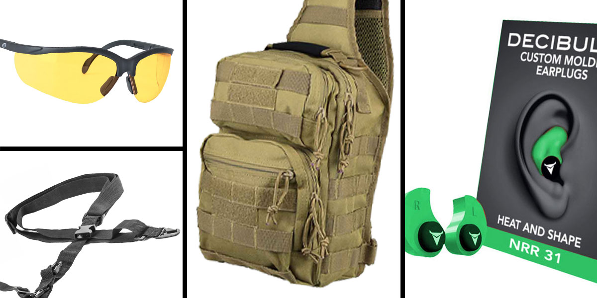 Tactical Gift Box VISM Shoulder Sling Utility Bag - Tan + Decibullz Custom Molded Earplugs - Green + Walker's Glasses, Yellow + AR-15 Three Point Tactical Combat Sling With HK Clips - Black