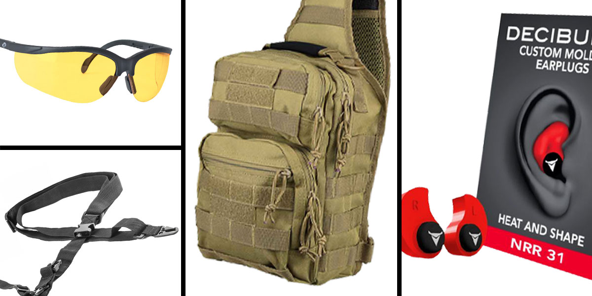 Tactical Gift Box VISM Shoulder Sling Utility Bag - Tan + Decibullz Custom Molded Earplugs - Red + Walker's Glasses, Yellow + AR-15 Three Point Tactical Combat Sling With HK Clips - Black