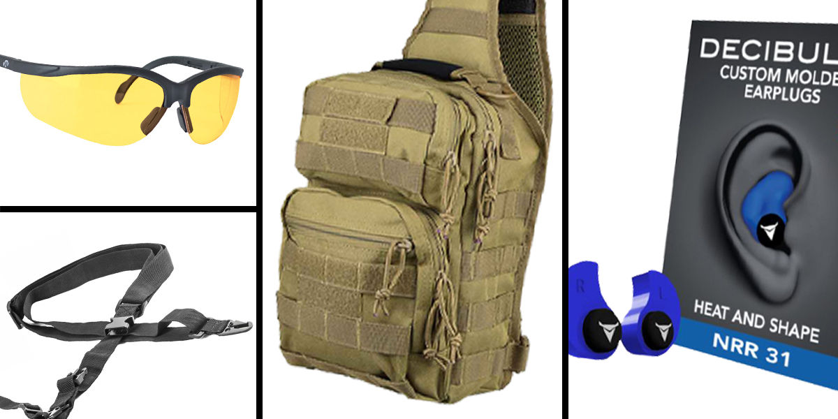 Tactical Gift Box VISM Shoulder Sling Utility Bag - Tan + Decibullz Custom Molded Earplugs - Blue + Walker's Glasses, Yellow + AR-15 Three Point Tactical Combat Sling With HK Clips - Black