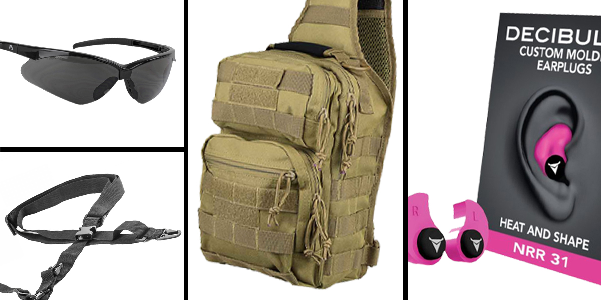 Tactical Gift Box VISM Shoulder Sling Utility Bag - Tan + Decibullz Custom Molded Earplugs - Pink + Walker's, Shooting Glasses, Smoke + AR-15 Three Point Tactical Combat Sling With HK Clips - Black