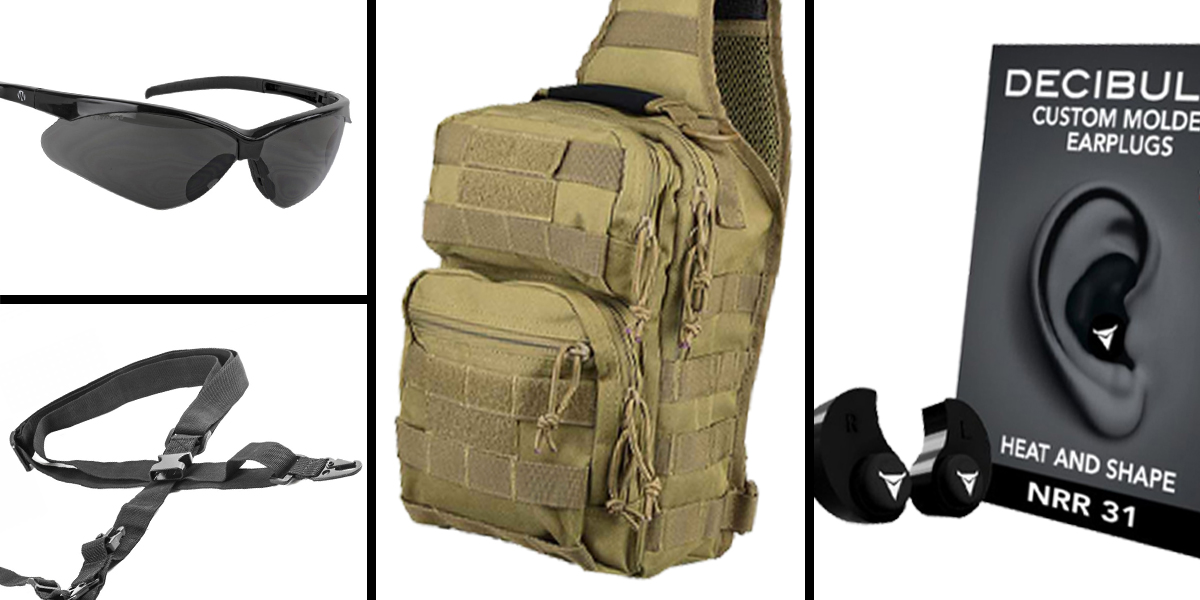 Tactical Gift Box VISM Shoulder Sling Utility Bag - Tan + Decibullz Custom Molded Earplugs - Black + Walker's, Shooting Glasses, Smoke + AR-15 Three Point Tactical Combat Sling With HK Clips - Black