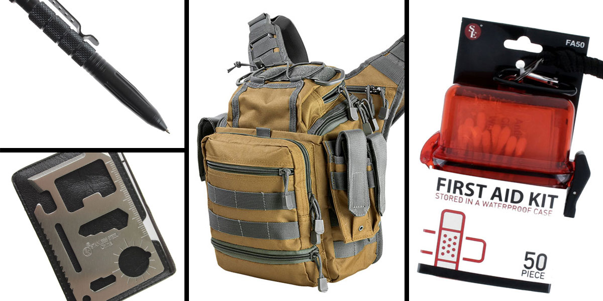 Tactical Gift Box VISM First Responders Utility Bag - Tan w/Urban Gray + Tactical Pen w/ Glass Breaker - Black + 50 Piece First Aid Kit in a Waterproof Storage Container + 11-IN-1 Multi-Function Survival Tool - 5 pc set