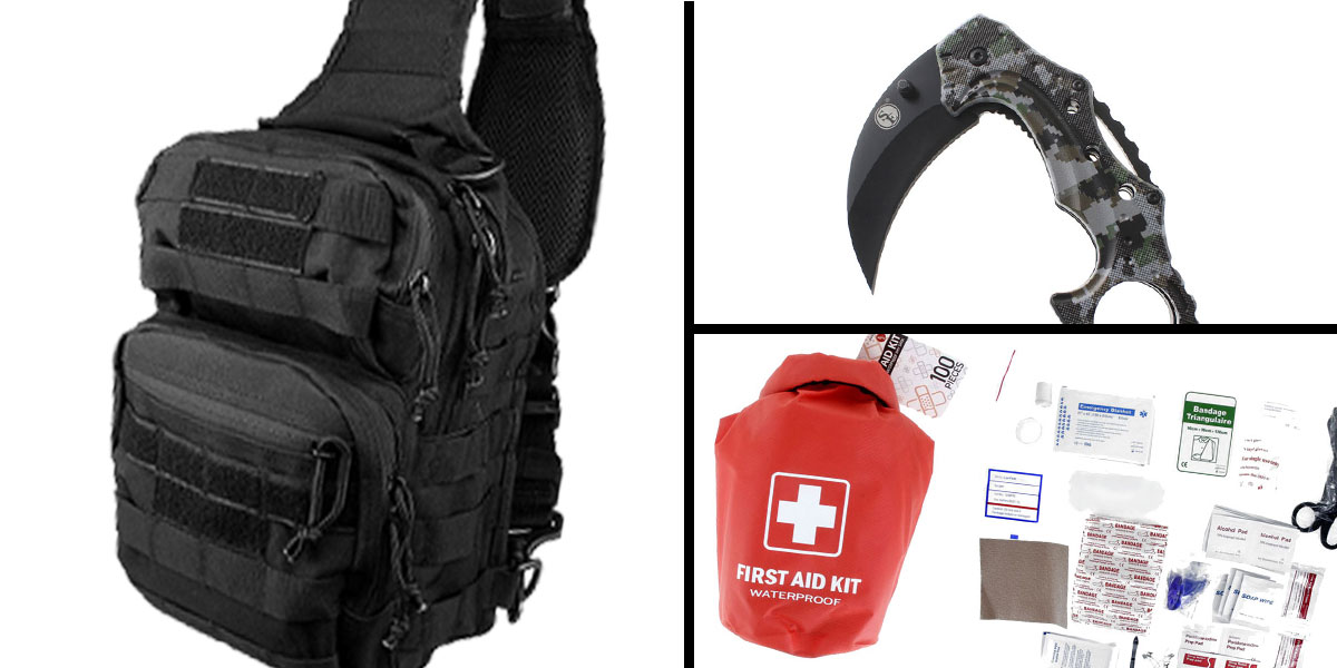 Tactical Gift Box 100 Piece First Aid Kit stored in Dry Sack + Folding Hawkbill Blade Knife w/ Clip-Digital Camo Green + Shoulder Sling Utility Bag - Black