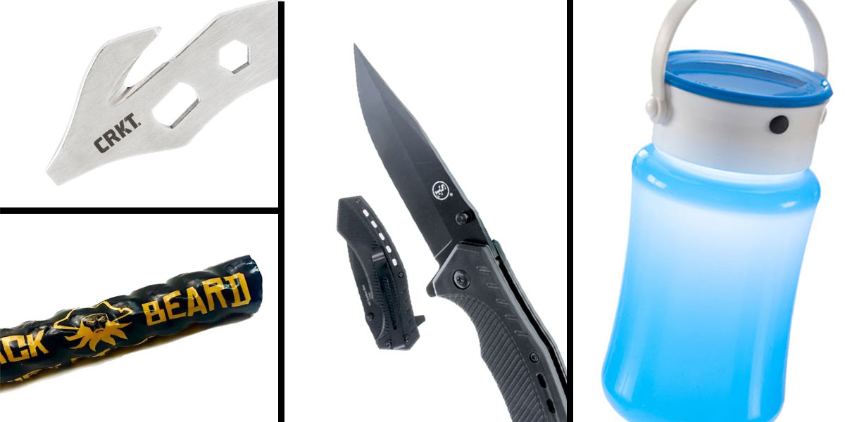 Tactical Gift Box Water Resistant Collapsible Storage Silicon Lantern Bottle + Spring Assisted Pocket Knife With Clip, Black + Black Beard Fire Starters + CRKT, K.E.R.T. Key Ring Emergency Tool