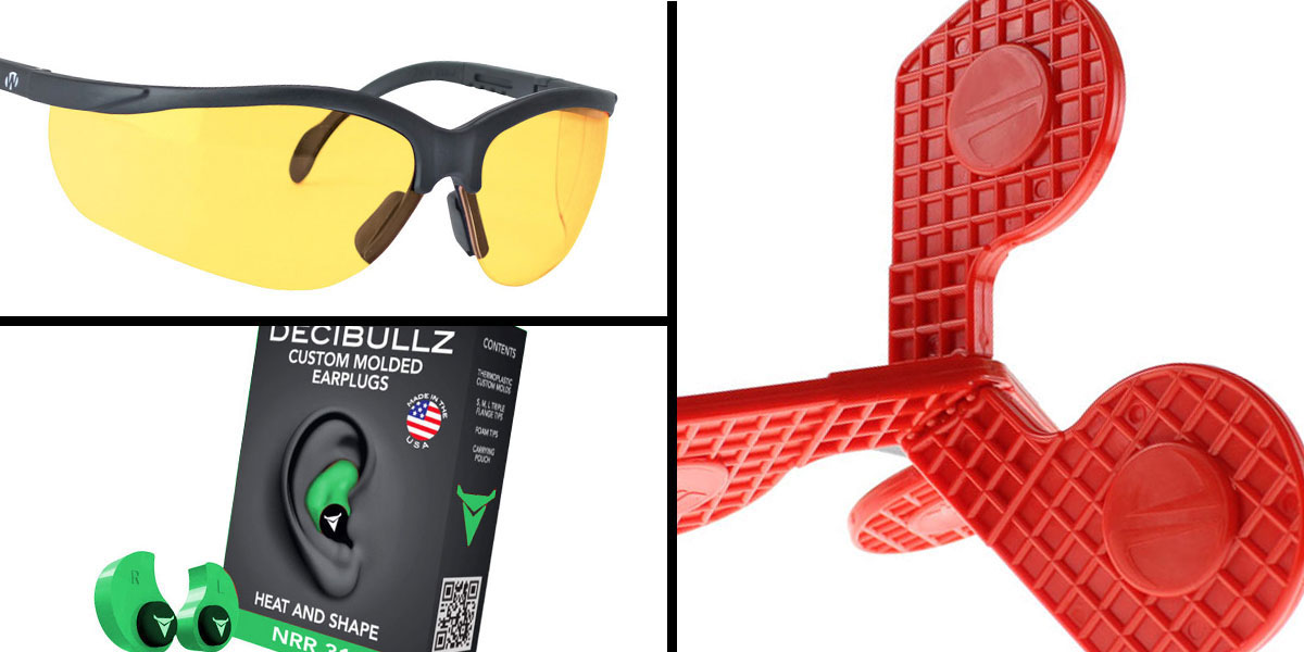 Tactical Gift Box Timber Creek Outdoors 'Jax' Self-Healing Rimfire and Pistol Target + Walker's, Glasses, Yellow + Decibullz Custom Molded Earplugs - Green