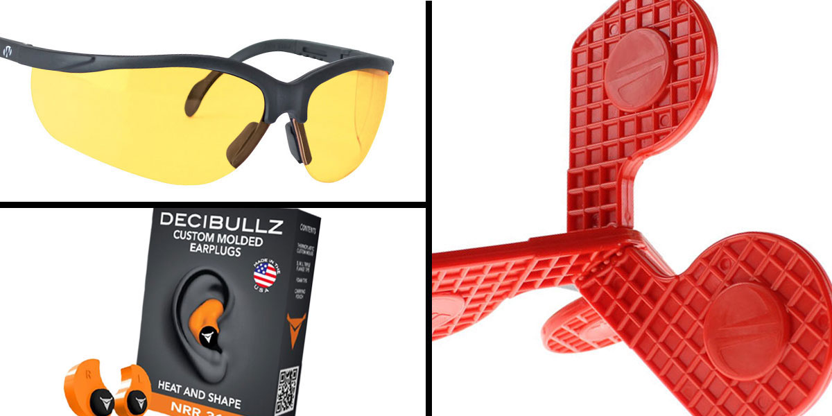 Tactical Gift Box Timber Creek Outdoors 'Jax' Self-Healing Rimfire and Pistol Target + Walker's, Glasses, Yellow + Decibullz Custom Molded Earplugs - Orange
