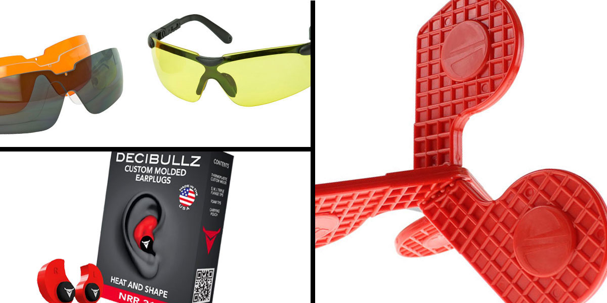 Tactical Gift Box Timber Creek Outdoors 'Jax' Self-Healing Rimfire and Pistol Target + Walker's, Glasses, and Clear Lens Kit + Decibullz Custom Molded Earplugs - Red