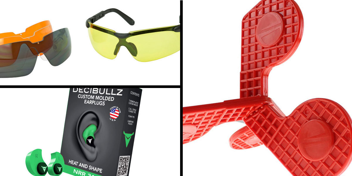 Tactical Gift Box Timber Creek Outdoors 'Jax' Self-Healing Rimfire and Pistol Target + Walker's, Glasses, and Clear Lens Kit + Decibullz Custom Molded Earplugs - Green