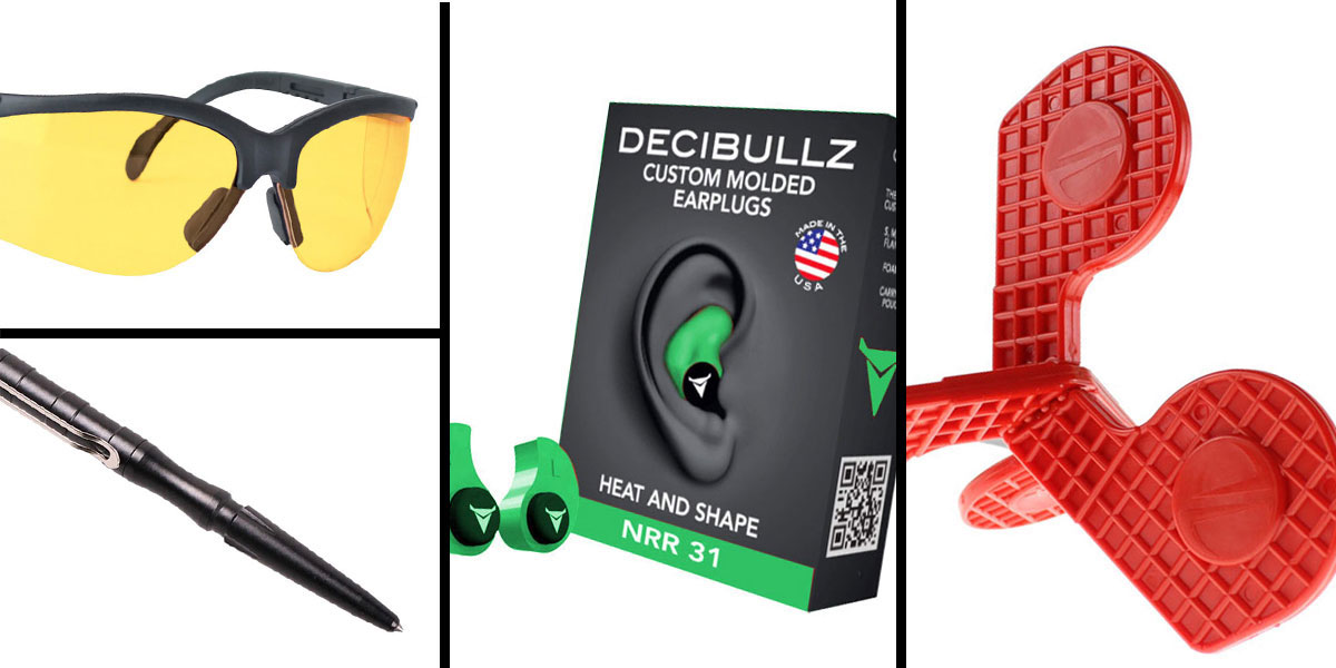 Tactical Gift Box Timber Creek Outdoors 'Jax' Self-Healing Rimfire and Pistol Target + Walker's, Glasses, Yellow + Decibullz Custom Molded Earplugs - Green + Tactical Pen