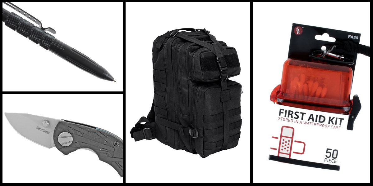Supply Drop VISM Small Backpack - Black + Kershaw Aftereffect Folding Knife + Tactical Pen + 50 Piece First Aid Kit in a Waterproof Storage Container