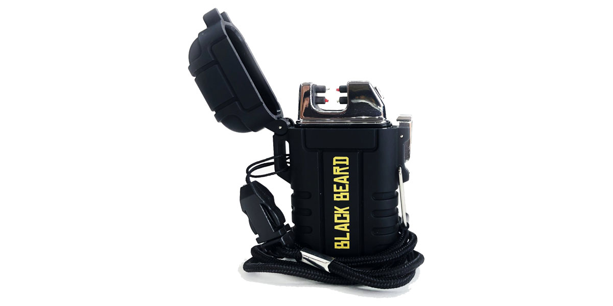 Black Beard Arc Lighter - Windproof, Waterproof, Rechargeable Fire Starter with Dual Arc Plasma Beam