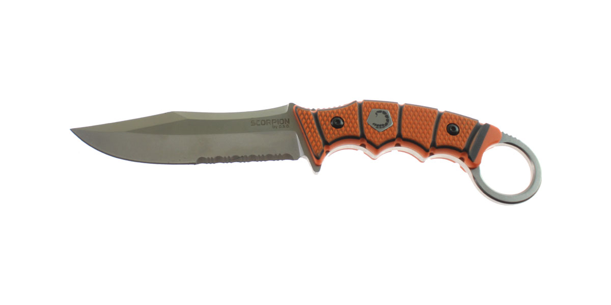 Knife, D2 Steel Blade w/ Stonewash Finish, Serrated Edge, Orange/Black G10 Handle, Thermoformed Sheath w/ Customizable Quick Detach Belt Loop